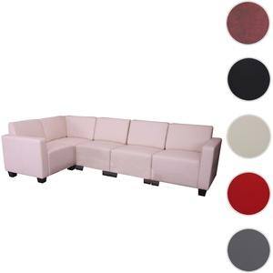 Modular Sofa-System Couch-Garnitur Lyon 5, Kunstleder ~ creme