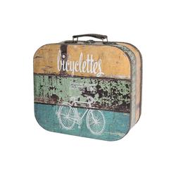 HMF Aufbewahrungsbox Vintage Koffer, aus Holz, Deko Fahrrad, 32 x 29,5 x 12 cm