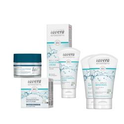 lavera Gesichtspflege-Set, 4-tlg., Gesichtspflege Set Nacht- Feuchtigkeitscreme Waschgel