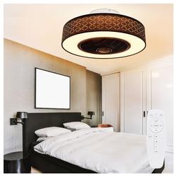 etc-shop Deckenventilator, Deckenventilator mit Beleuchtung Fernbedienung Deckenlampe mit Ventilator Timer leise rund, 3 Stufen, 1x 24W LED 1400 lm 3000K, DxH 55x24 cm