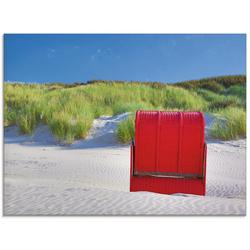 Artland Glasbild Roter Strandkorb, Strand (1 Stück) 80 cm x 60 cm