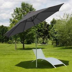 Sonnenschirm Asti, Gartenschirm, Ø 2,7m neigbar Polyester/Alu 5kg ~ anthrazit