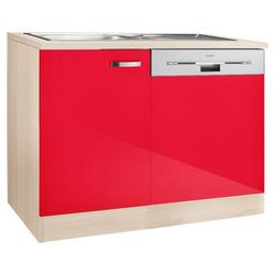 OPTIFIT Spülenschrank Faro, mit Tür/Sockel für Geschirrspüler rot