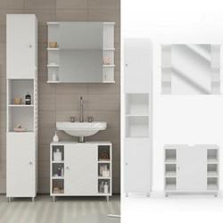 Vicco Badmöbel Set Fynn Badezimmer Spiegel Kommode Unterschrank Bad Weiß