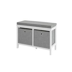 SoBuy Schuhbank FSR81, Sitzkommode mit 2 grauen Körben