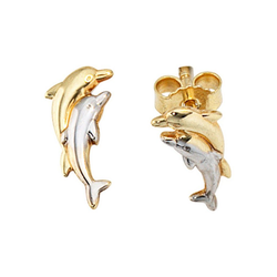 JOBO Paar Ohrstecker Delfine, 333 Gold bicolor