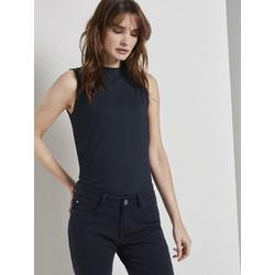 TOM TAILOR T-Shirt Geschlossenes Top in Ripp-Optik blau XL