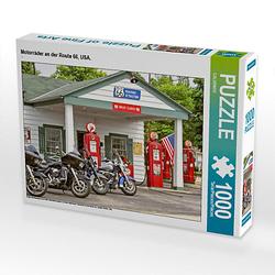 Motorräder an der Route 66, USA. Lege-Größe 64 x 48 cm Foto-Puzzle Puzzle