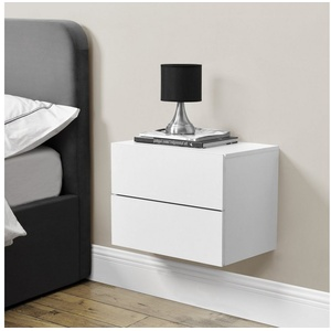 en.casa Hängeschrank Amberg Nachttisch Nachtschrank mit 2 Schubladen 40x29x30cm Weiß weiß