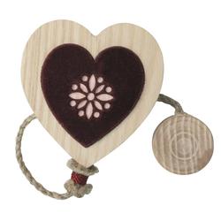 Landhaus Raffhalter Kordel Magnet Holz Herz beige weinrot rot, 1 Stück