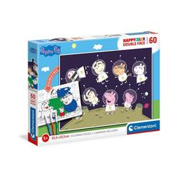 Clementoni® Puzzle Puzzle 60 Teile, Happy Color Double Face - Peppa, Puzzleteile