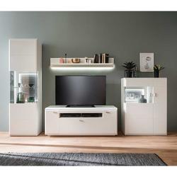 Moderne Wohnwand in Weiß und Anthrazit 300 cm breit (4-teilig)
