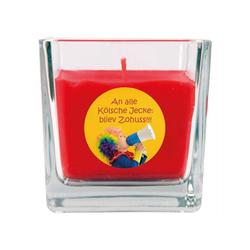 HS Candle Duftkerze (1-tlg), Karneval - Fasching Kerze im Bonbon Glas, Kerze mit Karneval's - Motiv rot Ø 8 cm x 8 cm x 8 cm