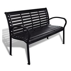 PHOEBE CAT Gartenbank, 3-Sitzer Gartenbank Parkbank Balkonbank Sitzbank aus Stahl und WPC Schwarz, 125 x 60,5 x 80,5 cm schwarz