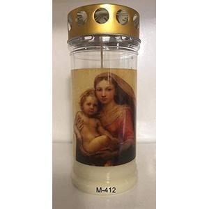 Aeterna Memoriam 4 Tages Motivgrabkerze mit Golddeckel - 12 St. Grabkerzen in weiß mit Golddeckel - Grablichter mit Deckel - Friedhofskerze - Grablampe - Grablicht (Madonna)