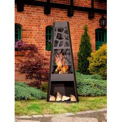 dobar Feuerstelle XXL, Gartenkamin, BxLxH: 57,5x38x148 cm, inkl. Grillrost