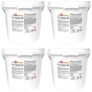 well2wellness Chlor L Tabletten 200g - langsam lösliche Chlortabletten a 200g mit 90% Aktivchlor, 20 kg (4 x 5 kg)
