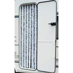 Flauschvorhang 56x185 cm grau/weiß für Wohnwagen