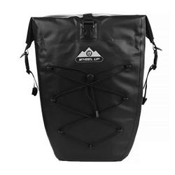 WHEEL UP Fahrradtasche Pack- Gepäckträgertasche Fahrradtasche 100% Wasserdicht 20/25L, schwarz