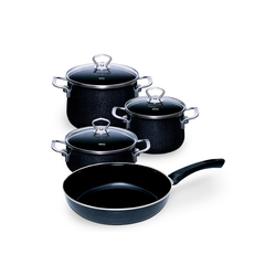 Riess Topf-Set Topfset Starterset 4-teilig BLACK MAGIC, Emaille, (4-tlg), Topfset
