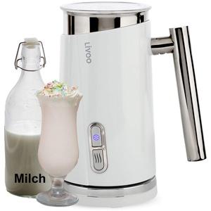 Milchaufschäumer Elektrisch Weiß - Elektrischer Milchschäumer Edelstahl 500 Watt - Erhitzen und Aufschäumen für Heiße und Kalte Milch 300 ml - Milchschaum 130 ml