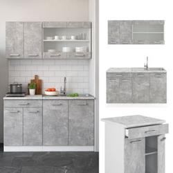 VICCO Küchenzeile SINGLE Einbauküche 140 cm Küche Beton R-LINE