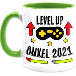 Shirtracer Tasse Level Up -Onkel 2021 - Tasse für Onkel - Tasse zweifarbig, Keramik