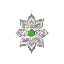 ILLUMINO Windspiel Edelstahl Windspiel Blüte Dalia -XL mit smaragdgrüner 40mm Kristallkugel Metall Windspiel für Garten und Wohnung Gartendeko Wohn und Fenster Deko