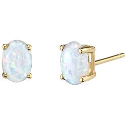 Goldohrringe mit weißen Opalen in Ovalform Pau