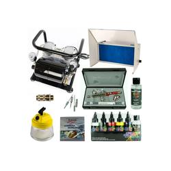 Airbrush-City Druckluftwerkzeug Fine-Art Airbrush Set - Infinity Two in One + Sparmax AC-500 Kompressor + Absauganlage - Kit 9210+, (1-St)