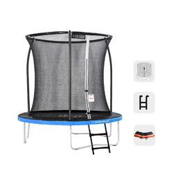 Greaden - Trampolín de exterior azul + naranja 250 + escalera de fitness de jardín de 244 cm