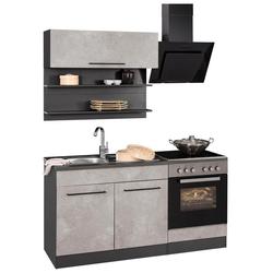 HELD MÖBEL Küchenzeile Tulsa, ohne E-Geräte, Breite 160 cm, schwarze Metallgriffe, hochwertige MDF Fronten grau