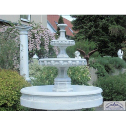 S207026 Gartenbrunnen Kaskadenbrunnen mit Brunnenbecken aus weissem Beton Steinguss Brunnen 107cm 271kg