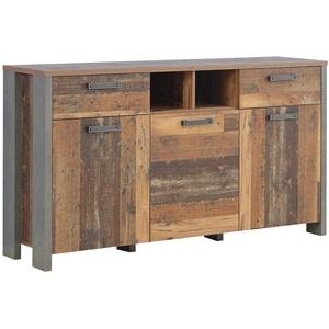 FORTE Clif Kommode mit 3 Türen und 2 Schubkästen, Holzwerkstoff, Old – Wood Vintage/ Betonoptik Dunkelgrau, 156,4 x 86,3 x 41,6 cm