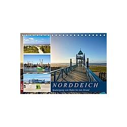 Norddeich Spaziergang vom Hafen bis zum Strand (Tischkalender 2021 DIN A5 quer)