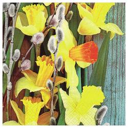 Linoows Papierserviette 20 Servietten, Ostern, dekorierte Narzissen &, Motiv Ostern, dekorierte Narzissen & Weidenkätzchen