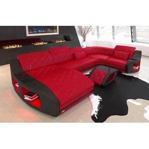 Couch Sofa Wohnlandschaft Swing U Form Leder Becherhalter Ottomane rot schwarz