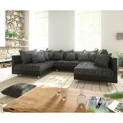 DELIFE Wohnlandschaft Clovis, Schwarz Wohnlandschaft modulares Sofa aus Modulsystem schwarz 300 cm x 67 cm x 185 cm