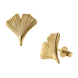 trendor Paar Ohrstecker e Ginkgo-Blatt 333 Gold goldfarben