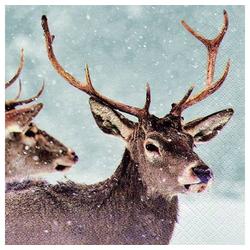 Linoows Papierserviette 20 Servietten Winterimpression mit Hirschen, der, Motiv Winterimpression mit Hirschen, Der Hirsch