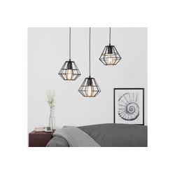 Licht-Erlebnisse Pendelleuchte DIAMOND Pendelleuchte Schwarz Metall geometrische Drahtleuchte Lampe