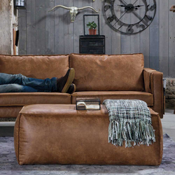 Leder Hocker in Cognac Braun Sofa