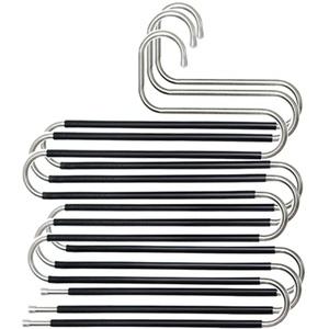 YAVO-EU Hosenbügel,3 Stück Edelstahl Platzsparend Hosenbügel S-förmige Hosenbügel,rutschfeste Closet Hosenbügel für Krawatte, Schal, Hose