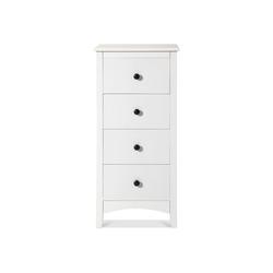 PHOEBE CAT Nachttisch, Nachtkommode Schubladenschrank mit 4 Schublade Beistelltisch Schubladenkommode, 45 x 45 x 94 cm, Weiß