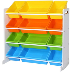 SONGMICS Aufbewahrungsbox GKR04W GKR04KL, Kinderregal, Kinderzimmerregal, vier Farbe bunt