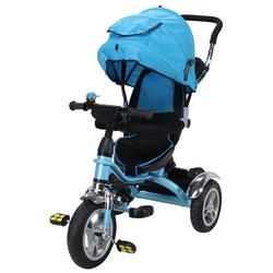 miweba Kinder-Buggy Kinderdreirad 7 in 1 Schieber Kinderwagen, 360° Drehbar - Luftreifen - Dreirad - Ab 1 Jahr blau