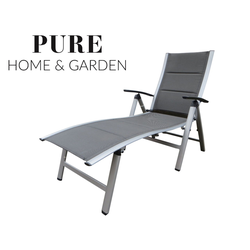 Pure Home & Garden NOX Padded Alu-Sonnenliege Klappliege in silber / mixed-taupe