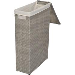 Wäschekorb (1 Stück), aus Polyrattan, Breite ca. 17 cm, Handgefochten grau