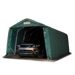 Toolport Zeltgarage 3,3x7,2m PVC 550 g/m² dunkelgrün wasserdicht Garagenzelt