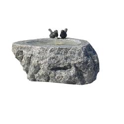 Dehner Gartenbrunnen Spring mit LED,Ø 38 cm, Höhe 25 cm, Granit, grau